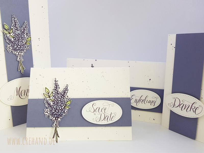 Hochzeits-Kartenset Lavendel selbst gestalten