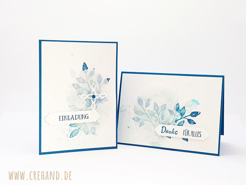 Einladung und Dankeschönkarte zur Firmung in Aquarelltechnik